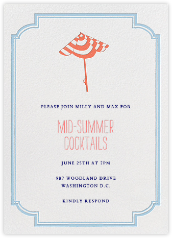 Under the Umbrella - Coral - Mr. Boddington's Studio - Summer Party Invitations