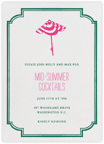Under the Umbrella - Pink - Mr. Boddington's Studio - Summer Party Invitations