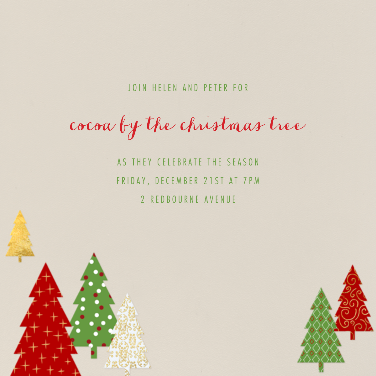 Modern Christmas Trees - Paperless Post - Invitations
