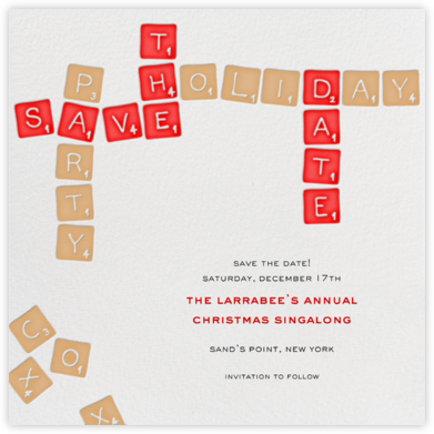 Christmas Scrabble - Save The Date - Paperless Post - Holiday save the dates