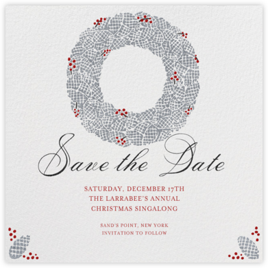 Pinecone Wreath - Paperless Post - Holiday Save the Dates