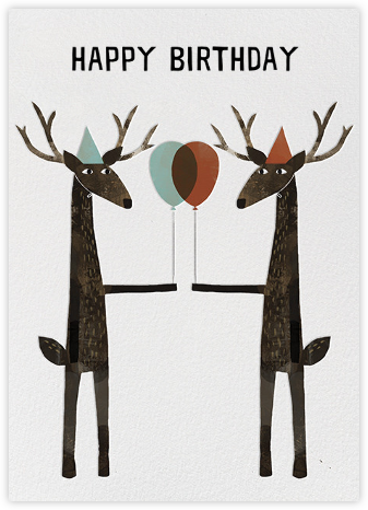 Party Deer (Jon Klassen) - Red Cap Cards - Birthday Cards for Him