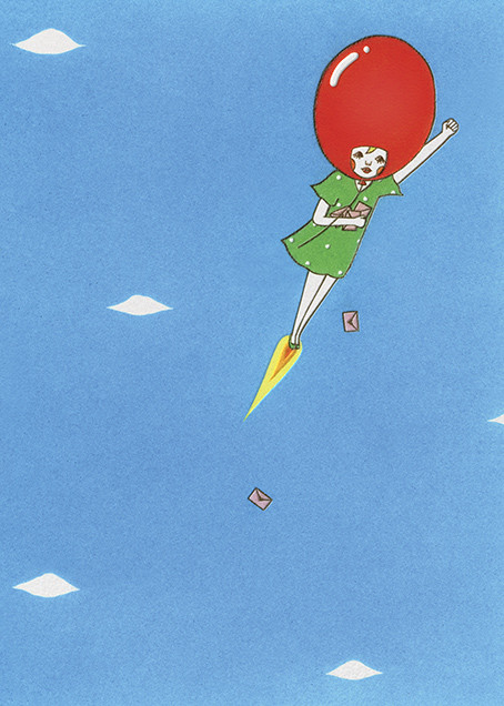 Delivery Balloon Girl (Naoshi) - Red Cap Cards - Birthday cards