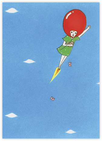 Delivery Balloon Girl (Naoshi) - Red Cap Cards - Birthday Cards for Her