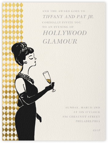 Woman with Champagne - Paperless Post - Viewing Party Invitations