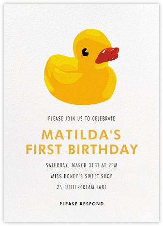 Rubber Ducky - Hannah Berman - First birthday and baby birthday invitations