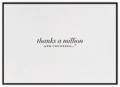 Thanks A Million Border - Black - bluepoolroad - bluepoolroad invitations and cards