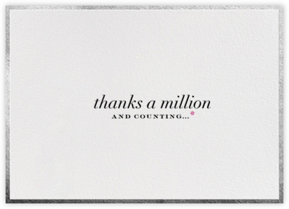 Thanks A Million Border - Silver - bluepoolroad - bluepoolroad invitations and cards