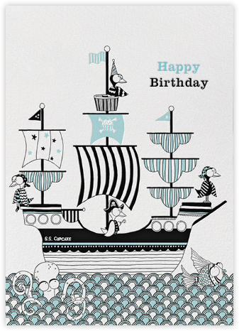 Crow Ship (Carrie Gifford) - Red Cap Cards - Birthday Cards for Him