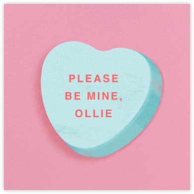 Don't Break My Candy Heart - Blue - Paperless Post - Valentine's Day Cards