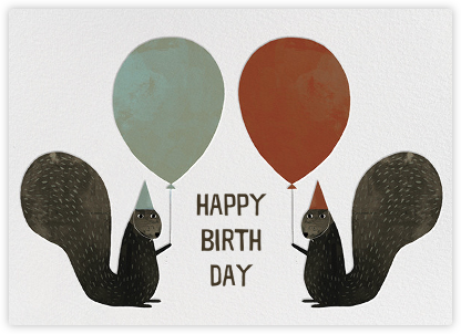 Party Squirrels (Jon Klassen) - Red Cap Cards - Online greeting cards