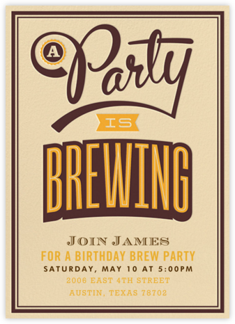 A Party Is Brewing - Crate & Barrel - Adult Birthday Invitations