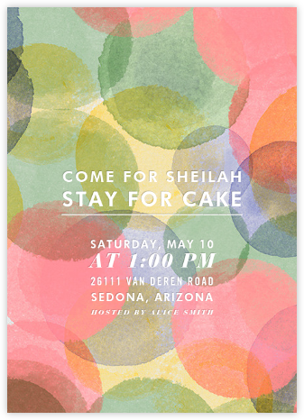 Birthday Watercolor - Crate & Barrel - Adult Birthday Invitations