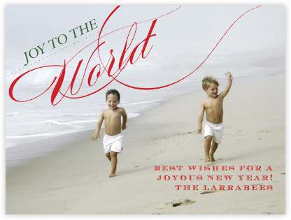 Joy to the World - Red and Green Horizontal - Paperless Post -