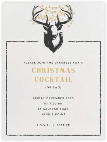 Antler Tangle - Tall - Paperless Post - Holiday party invitations