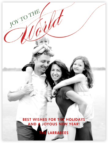 Joy to the World - Red and Green Tall - Paperless Post -