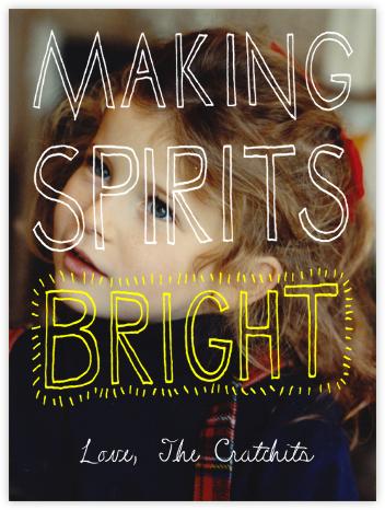 Making Spirits Bright Greeting - Yellow - Paperless Post - Holiday Cards