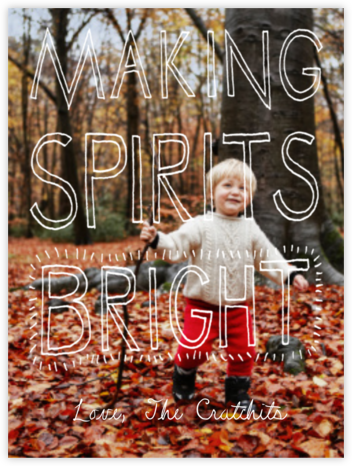 Making Spirits Bright Greeting - White - Paperless Post - Affordable Christmas Cards