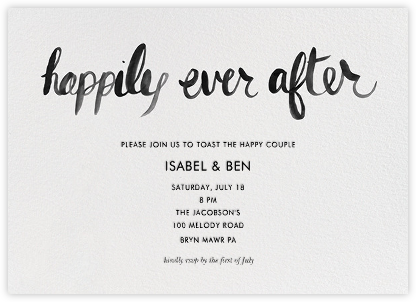 Ever After - Black - Linda and Harriett - Engagement party invitations