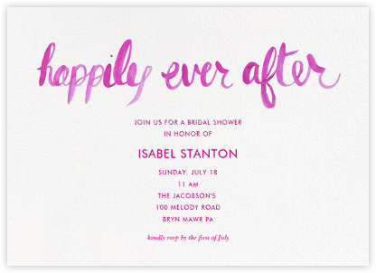 Ever After - Pink - Linda and Harriett - Bridal shower invitations