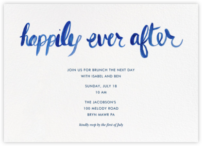 Ever After - Blue - Linda and Harriett - Wedding Weekend Invitations
