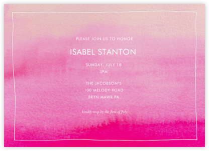 Pink Watercolor - Linda and Harriett - Bachelorette party invitations