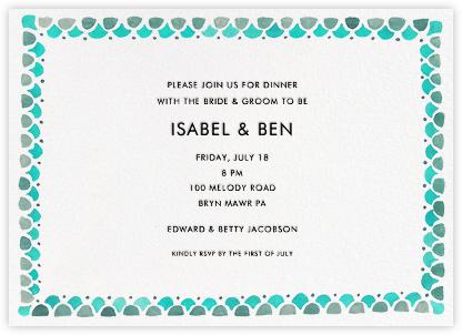 Watercolored Border - Teal - Linda and Harriett - Rehearsal dinner invitations