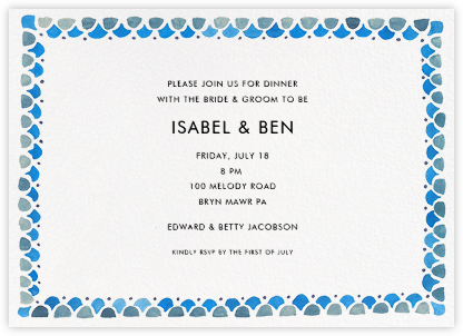 Watercolored Border - Blue - Linda and Harriett - Wedding Weekend Invitations