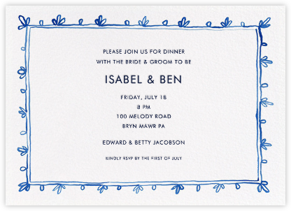 Brushed Border - Blue - Linda and Harriett - Wedding Weekend Invitations
