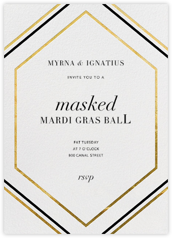 Deco Hex Frame - Gold - Paperless Post - Mardi Gras invitations