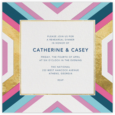 Geo - Gold Foil - Jonathan Adler - Wedding Weekend Invitations