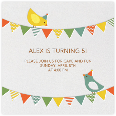 Bird Party - Green - Petit Collage - Online Kids' Birthday Invitations
