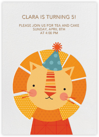 Party Lion - Petit Collage - Online Kids' Birthday Invitations