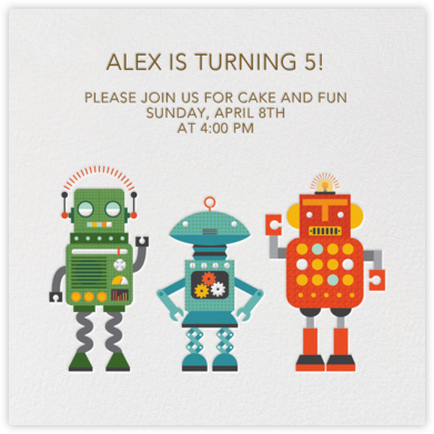 Robot Party - Petit Collage - Birthday invitations