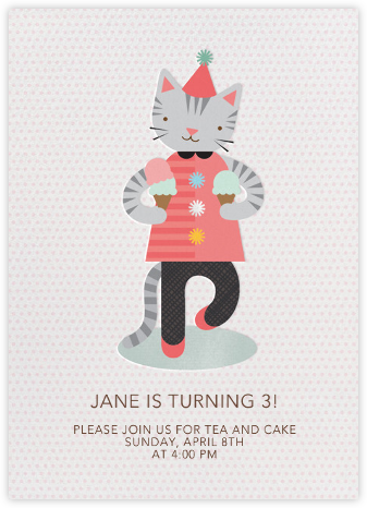 Ice Cream Cat - Petit Collage - First Birthday Invitations