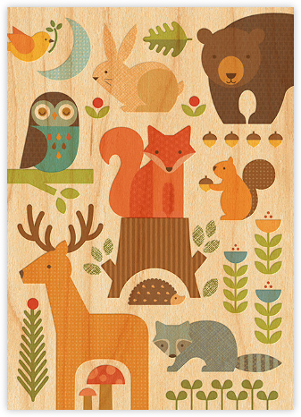 Forest Parade (Double-sided) - Woodgrain - Petit Collage - Online Baby Shower Invitations