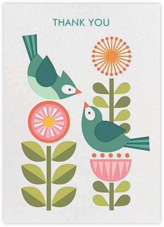 Blue Bird Pair - Petit Collage - Online Thank You Cards