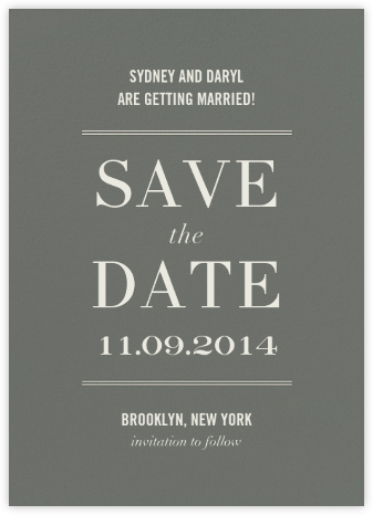 Typographic II (Save the Date) - Gray | tall