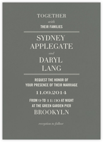 Typographic II (Invitation) - Gray - kate spade new york - Kate Spade invitations, save the dates, and cards