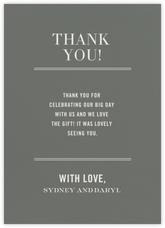 Typographic II (Stationery) - Gray - kate spade new york - Wedding thank you cards