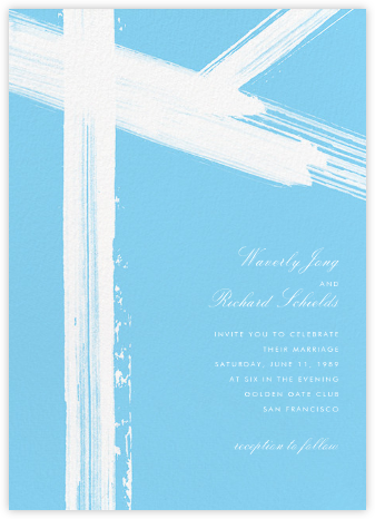 Gesso II (Invitation) - Ivory/Light Blue - Paperless Post - Wedding Invitations