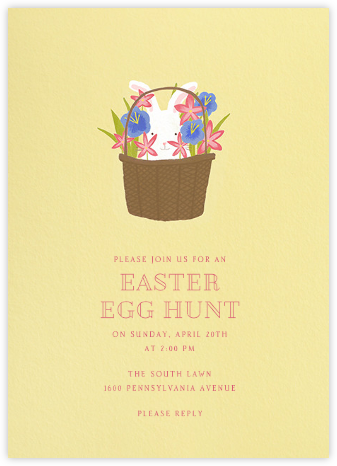 Bunny In The Basket - Paperless Post - Online Party Invitations