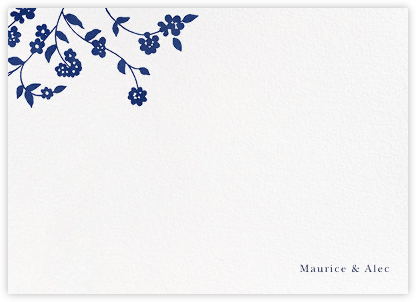 Floral Trellis II (Stationery) - Ivory/Blue - Oscar de la Renta - Personalized Stationery