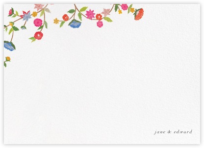 Stitched Floral II - Thank You - Oscar de la Renta - Personalized Stationery