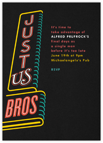 Just Us Bros - Paperless Post - Bachelor party invitations