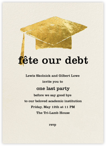 Mortar Board - Cream - Paperless Post - Celebration invitations