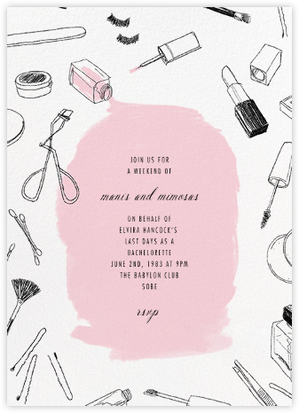Mani Pedi - White - Paperless Post - Bachelorette party invitations