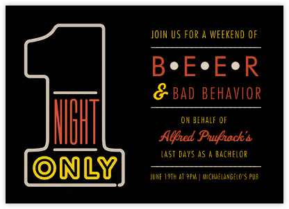 1 Night Only - Black - Paperless Post - Bachelor party invitations