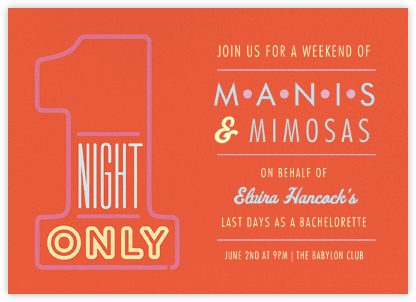 1 Night Only - Red - Paperless Post - Bachelorette party invitations