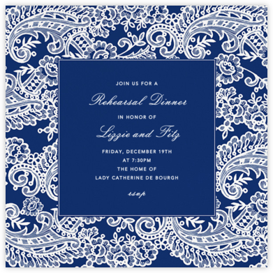 Filigree Lace (Square) - Navy - Oscar de la Renta - Wedding Weekend Invitations